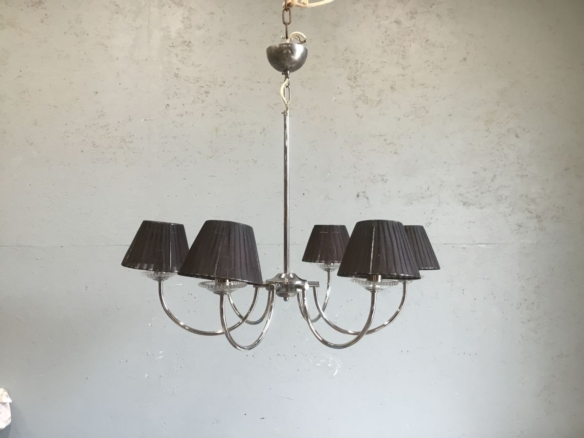 Chrome Six Armed Chandelier