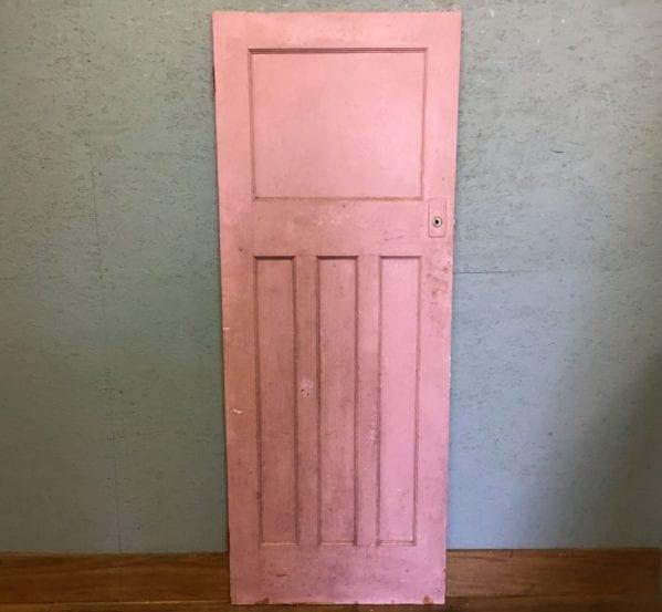 Half Pink Painted 1 Over 3 Reclaimed Door