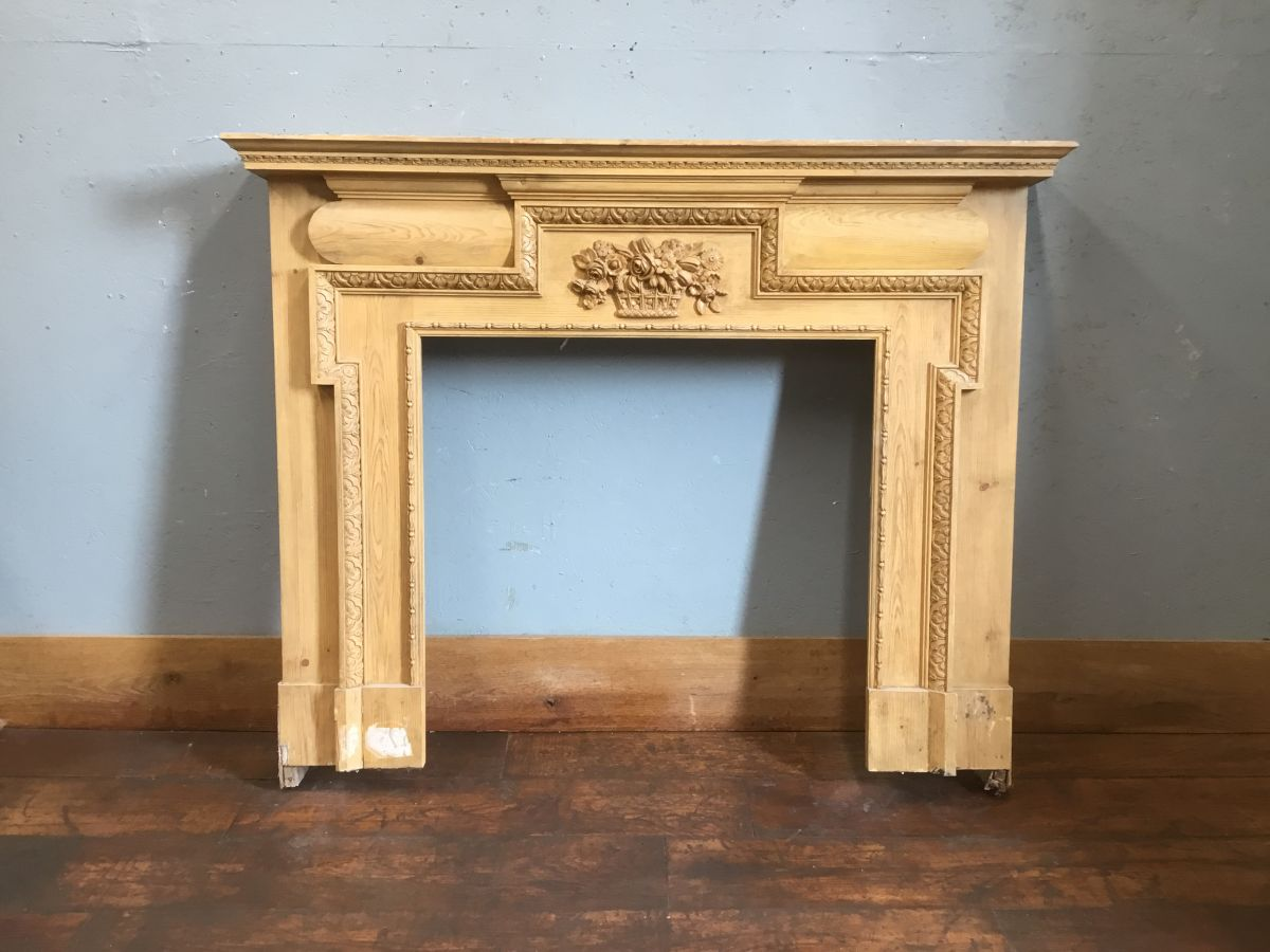 Wooden Fire Surround Carved Central Detail