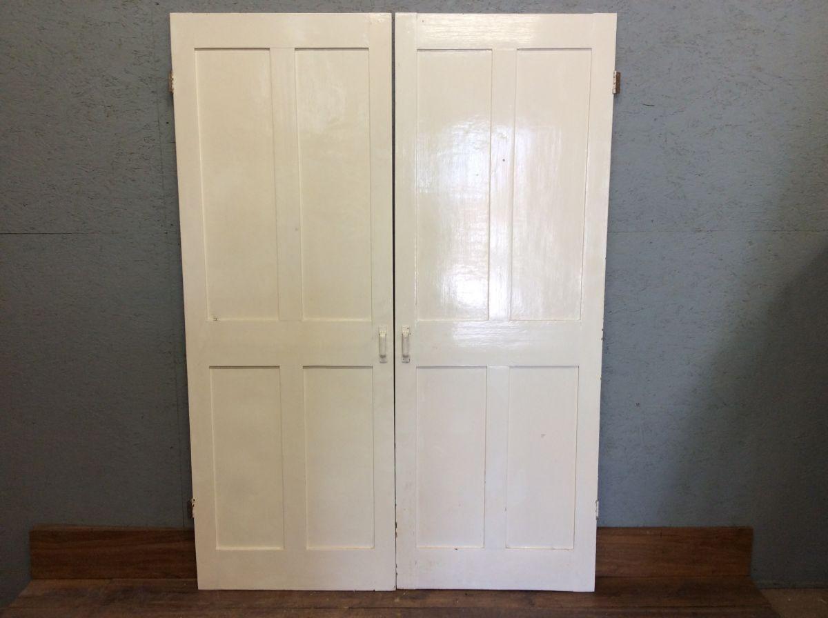 Pair Of White 4 Panel Cupboard Doors