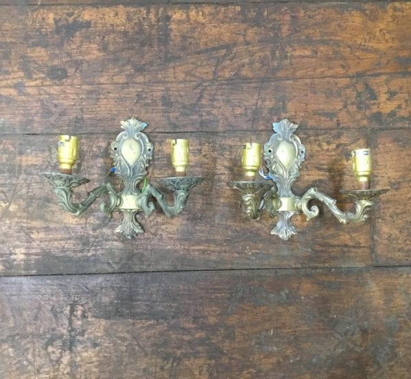 Decorative Brass Sconce Pair