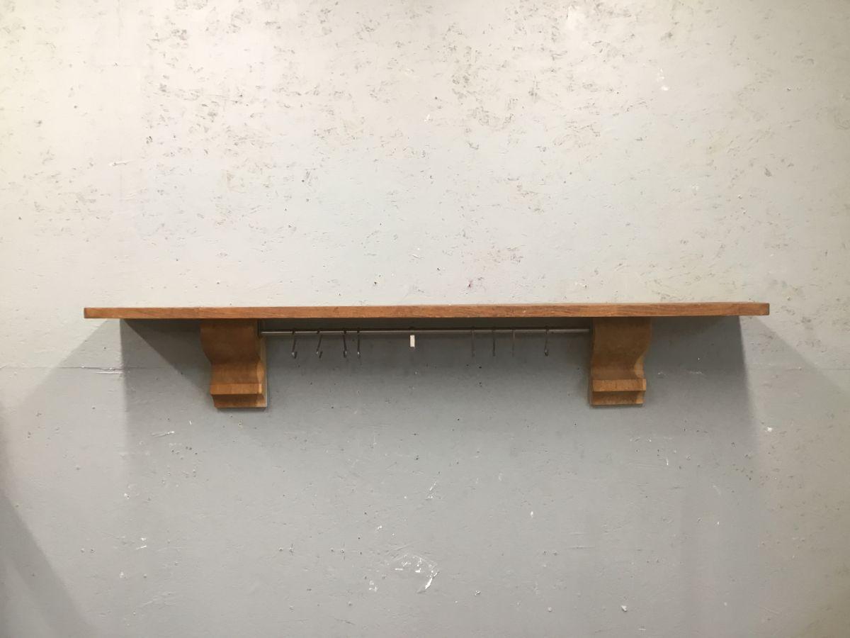 Oak Mantle Shelf & Hooks