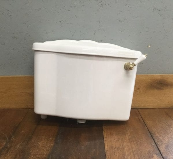 White Fluted Lid Toilet Cistern
