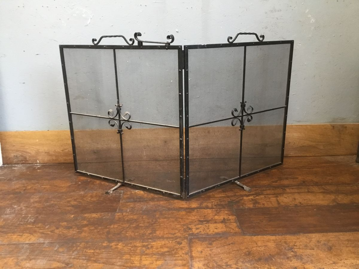 Folding Wrought Iron Fire Screen