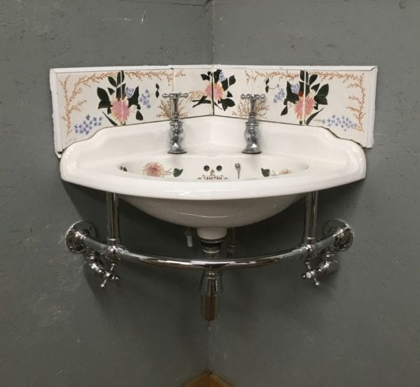 Hand Painted B.C Sanitan Corner Basin & Heated Towel Rail