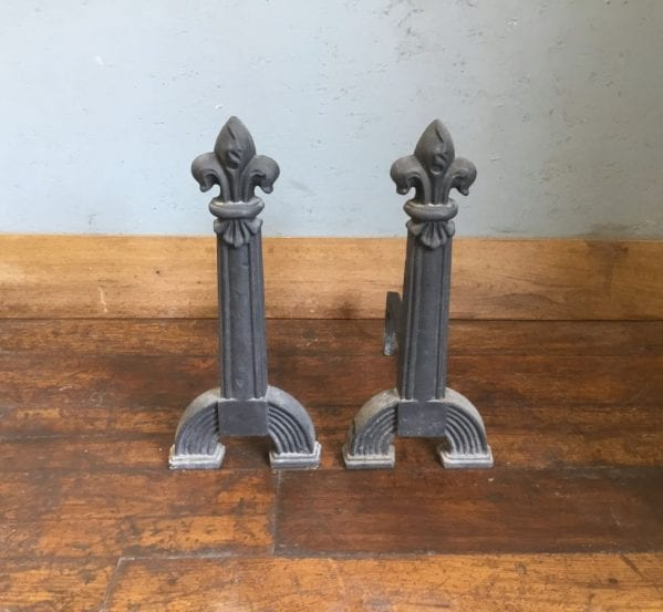 Large Fleur-de-Lis Cast Iron Fire Dogs