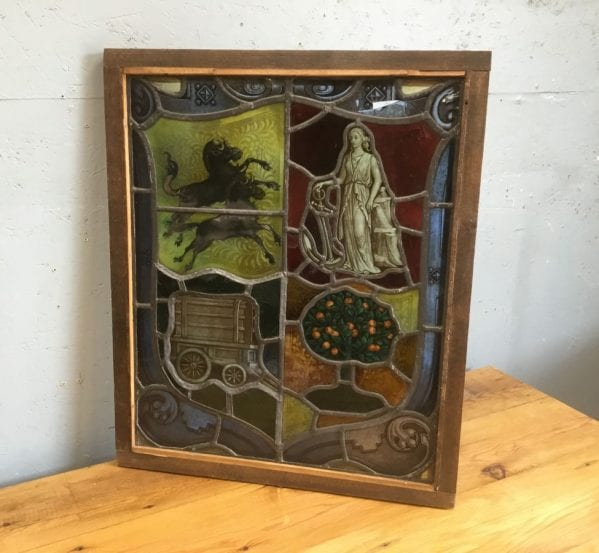 Victorian Shield Design Stained Glass Window