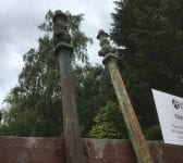 Green Iron Lamp Post Pair