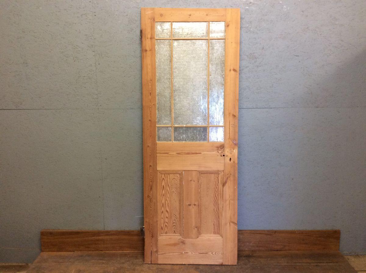 Half Glazed Stripped Pine Door