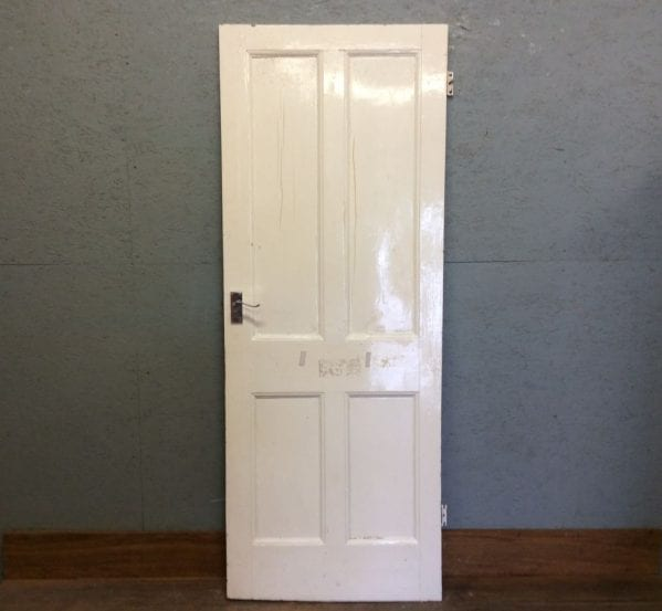 White 4 Panelled Door W Handles