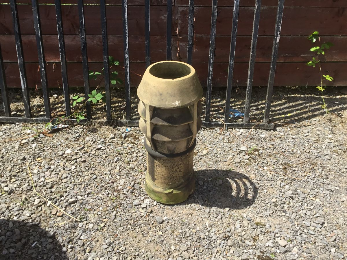 Grey Louvred Chimney Pot