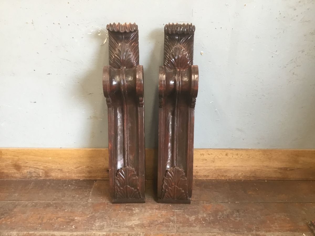 Highly Ornate Large Wooden Corbels