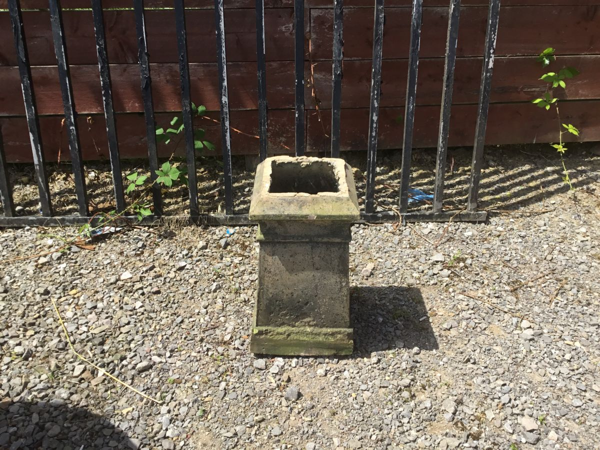 Square Based Grey Chimney Pot