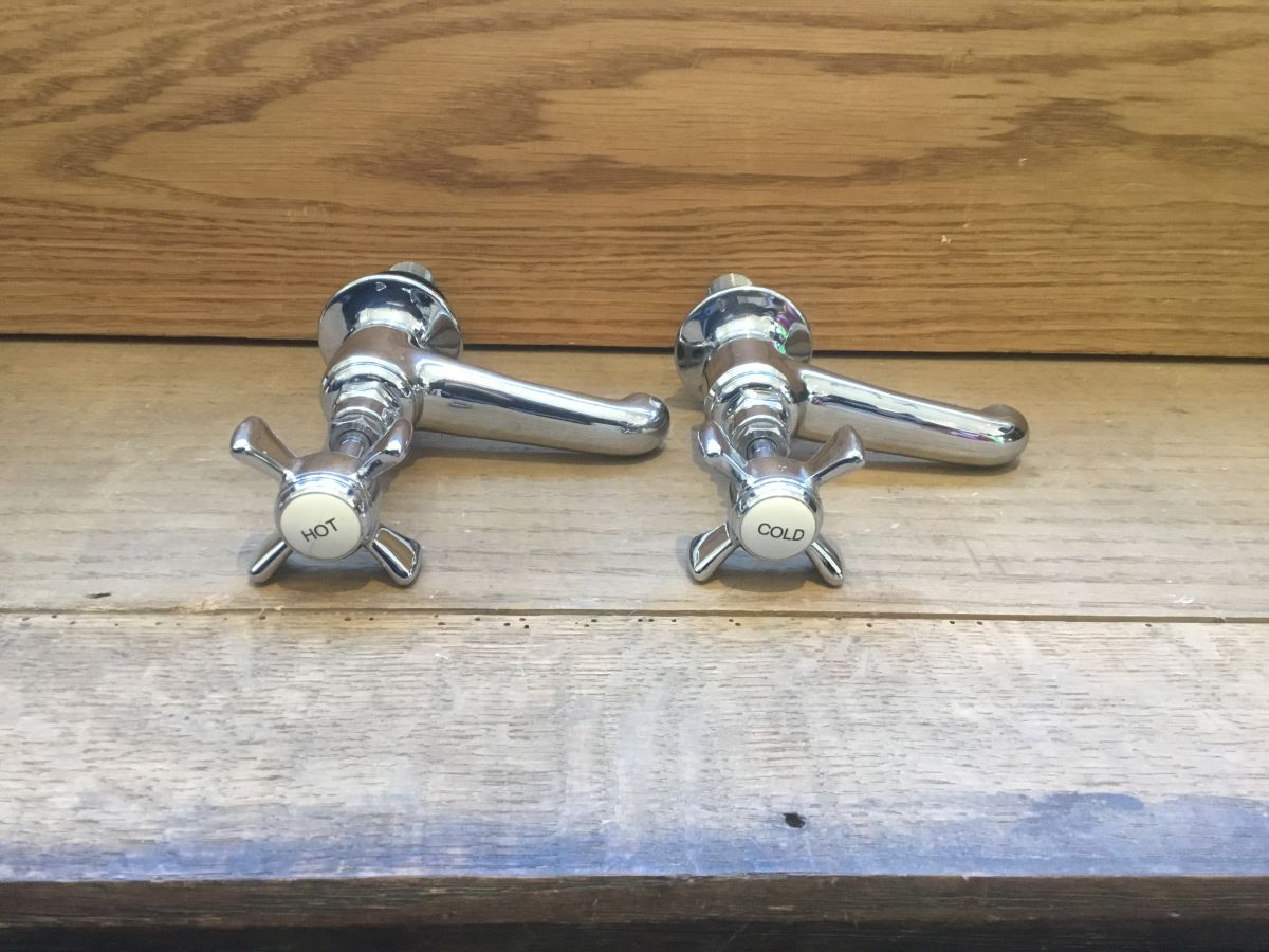 Porcelain Button Chrome Tap Pair