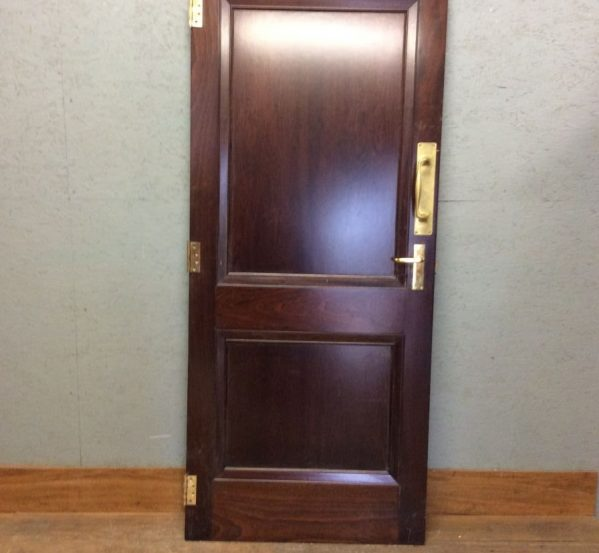 Dark Mahogany 2 Panel Door w Brass