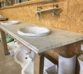 Grey Marble Mounted Twin Sinks
