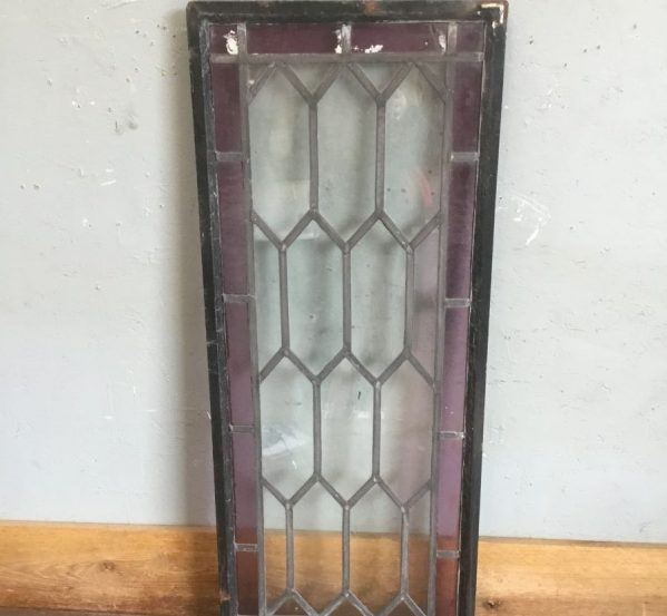 Burgundy Edged Stained Glass Leaded Window