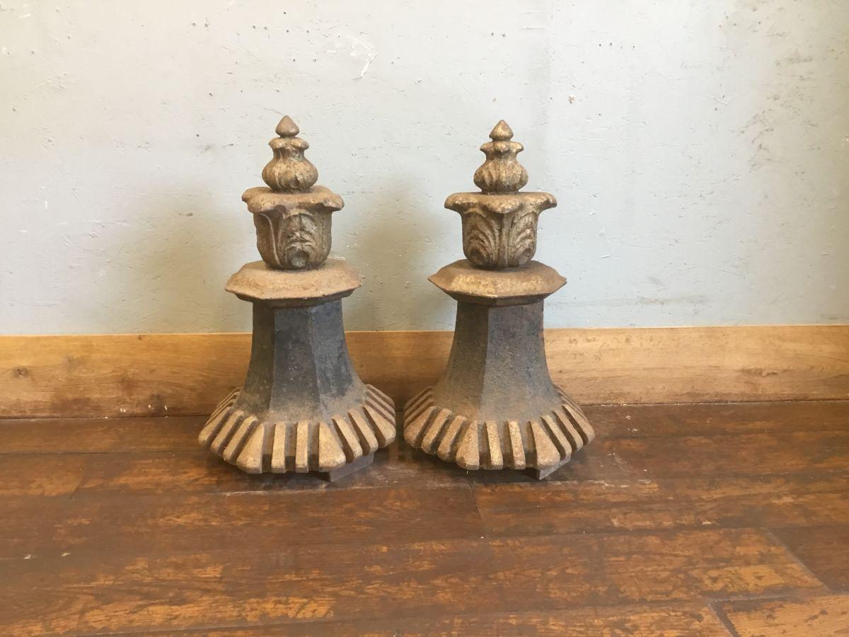 Impressive Pair Of Cast Iron Pier Tops