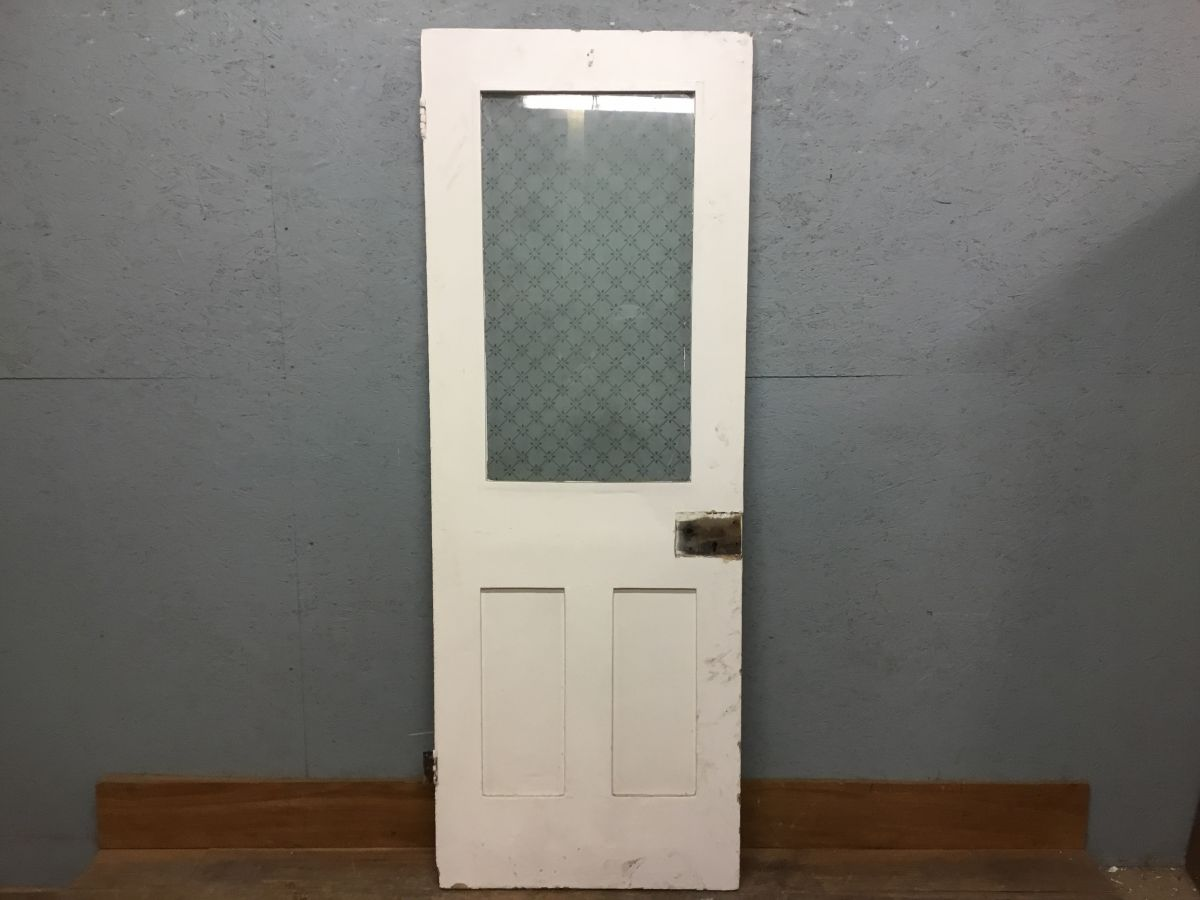 Nice Half Glazed Painted 3 Panel Door