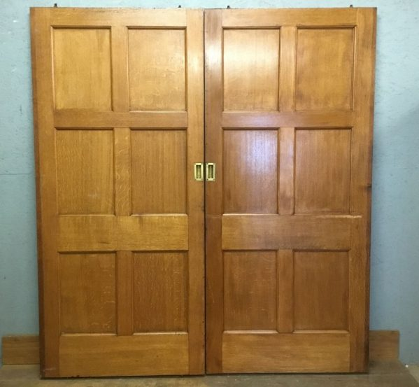 Vintage Varnish Finish Oak 6 Panel Sliding Doors