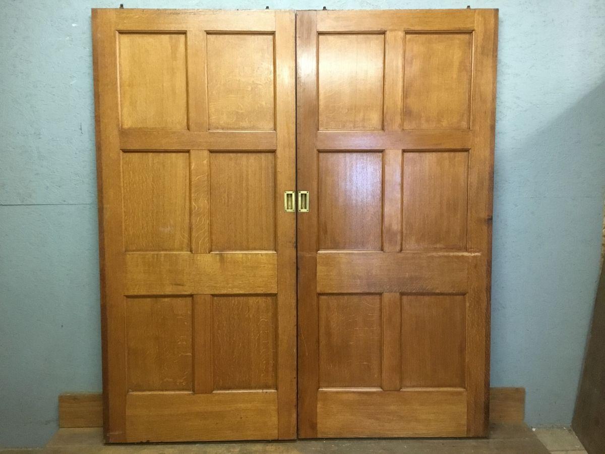 Vintage Varnish Finish Oak 6 Panel Sliding Doors