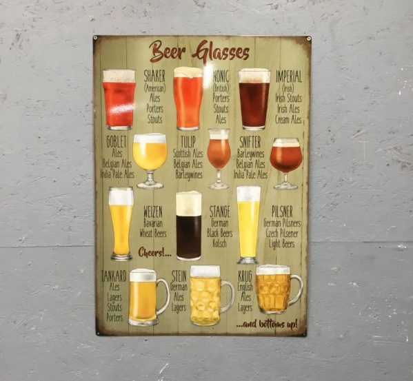 Beer Glasses Metal Sign