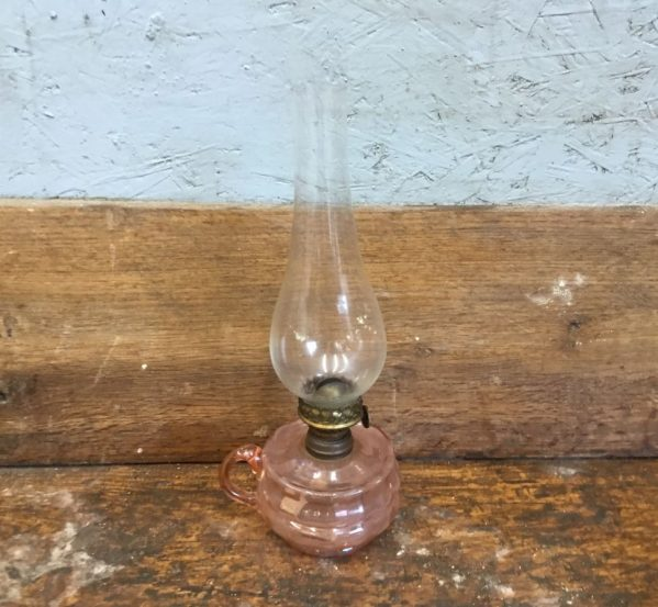 Small Pink Glass Oil Lamp