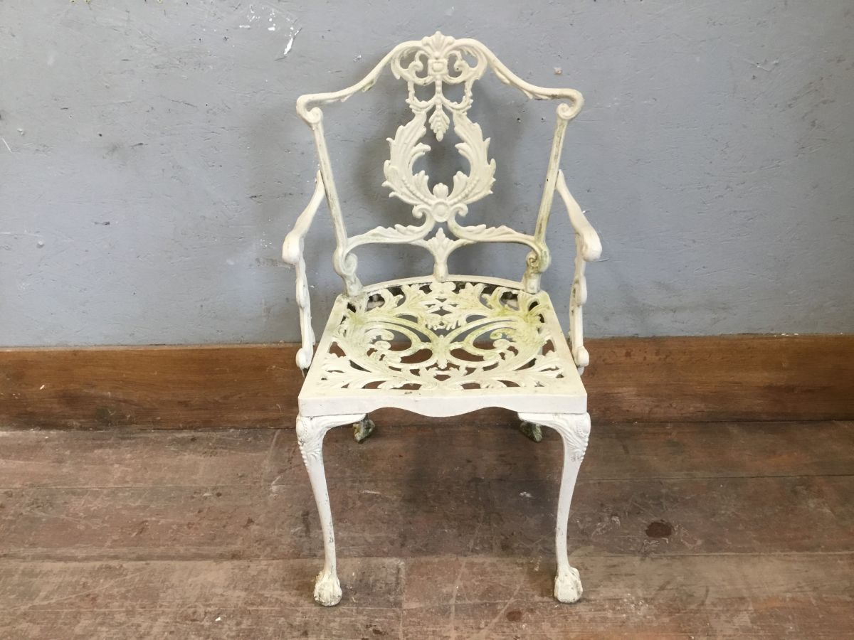 White Painted Metal Chair