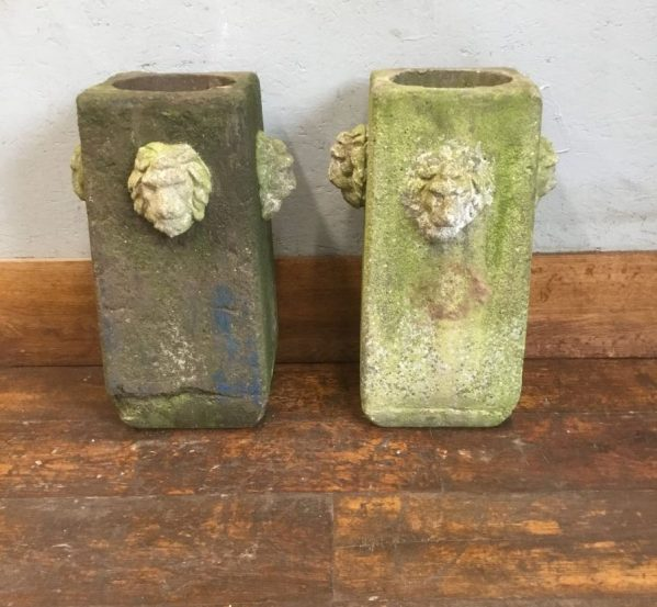 Restored Lion Head Planters
