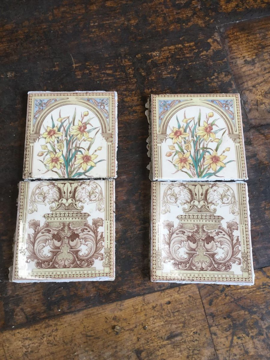 Reclaimed Floral Fireplace Tiles