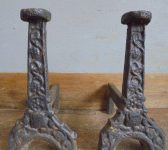 Cast Iron Fire Dogs and Basket