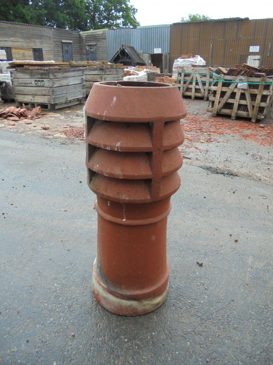Orange Louvred Chimney Pot