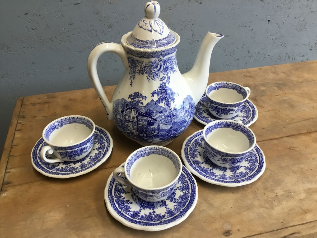 Blue French China Tea Set