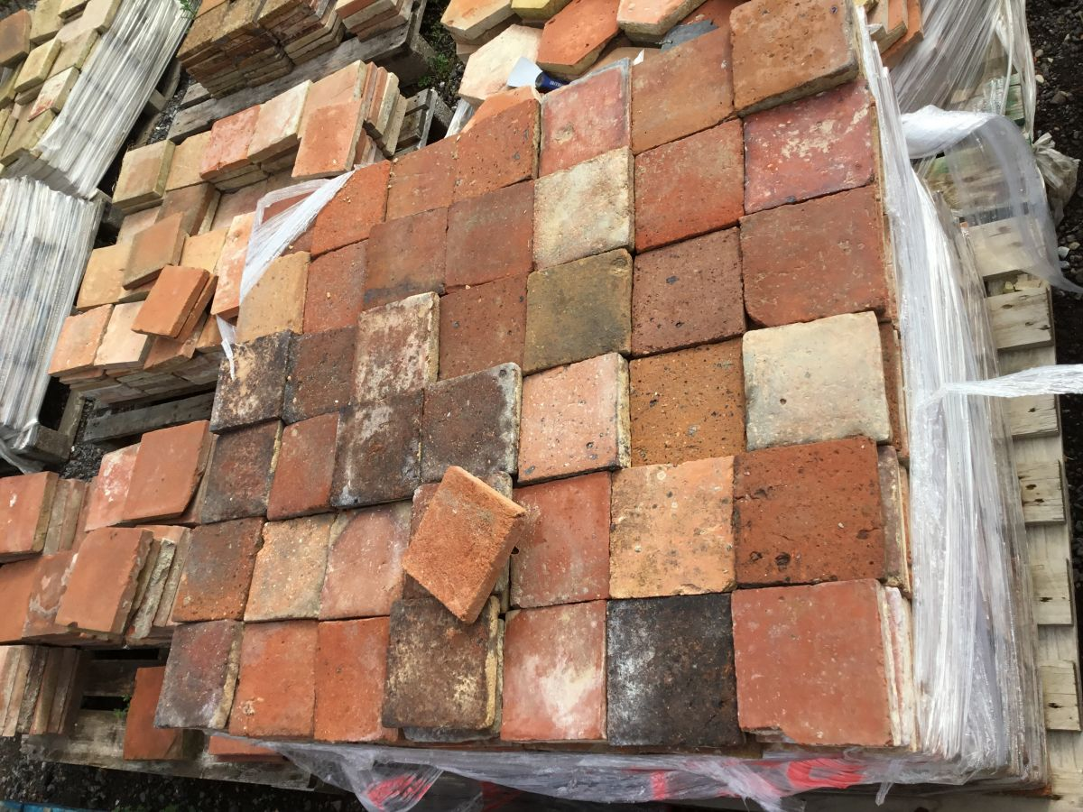 5 3/4 Red Square French Floor Tiles