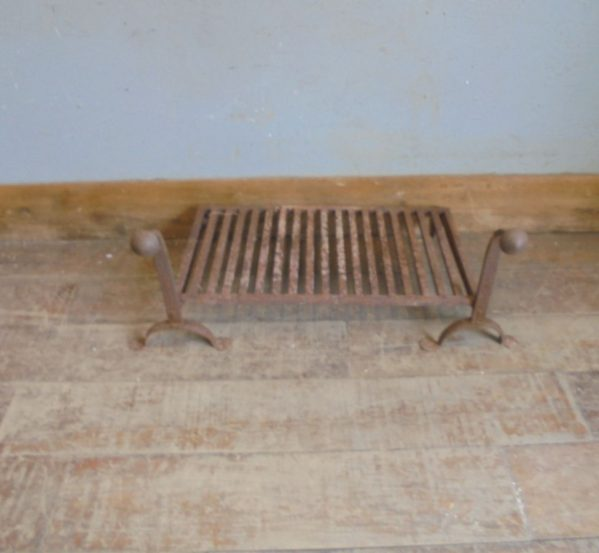 Wrought Iron Fire Dogs and Grate Set