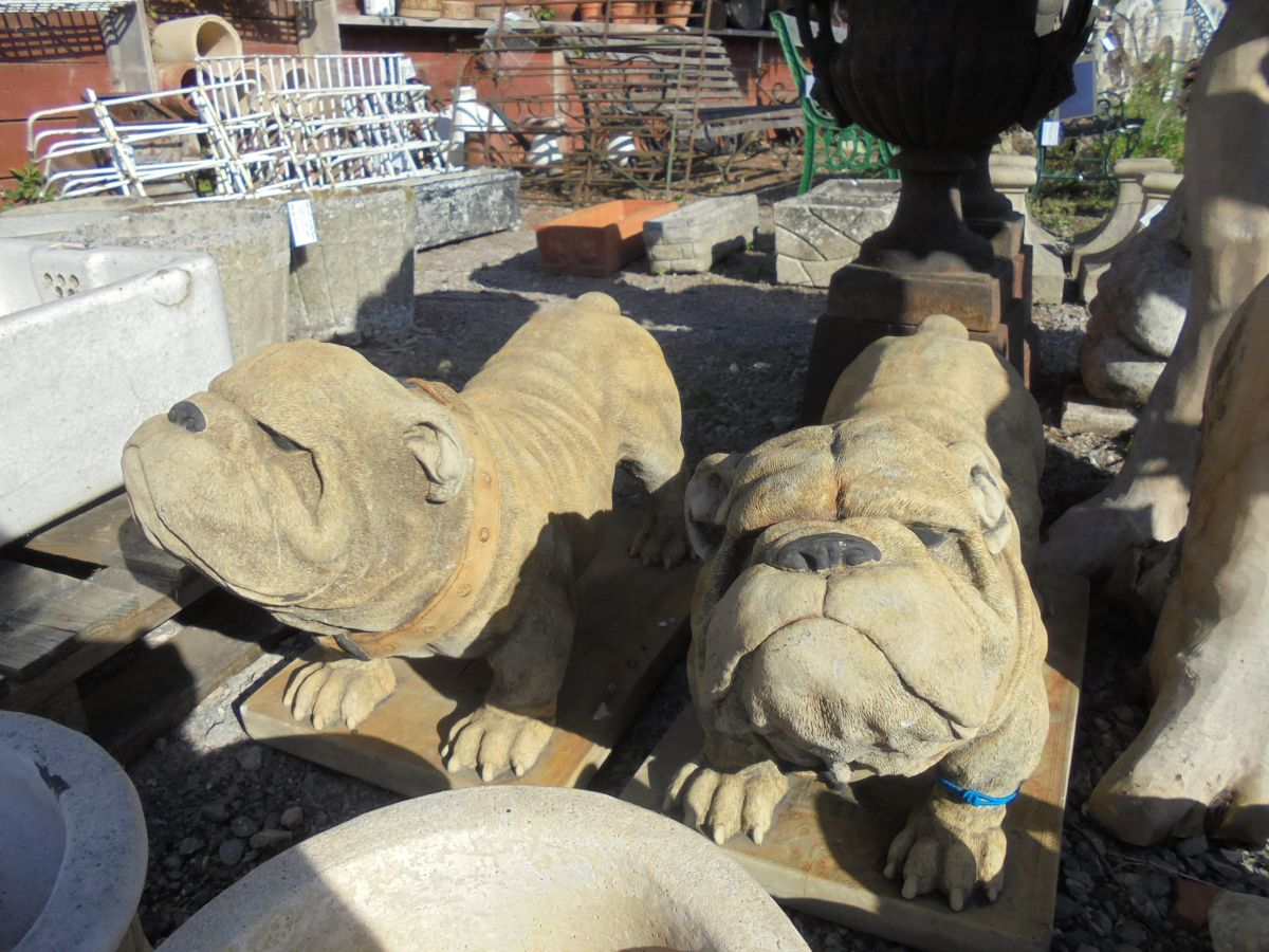 Pair of Bulldog Statues