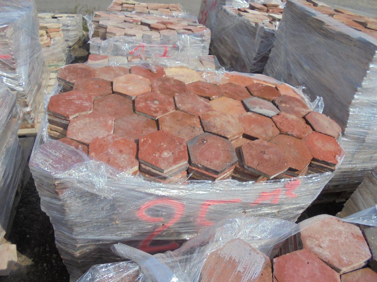 6″ Red Hexagonal Floor Tiles