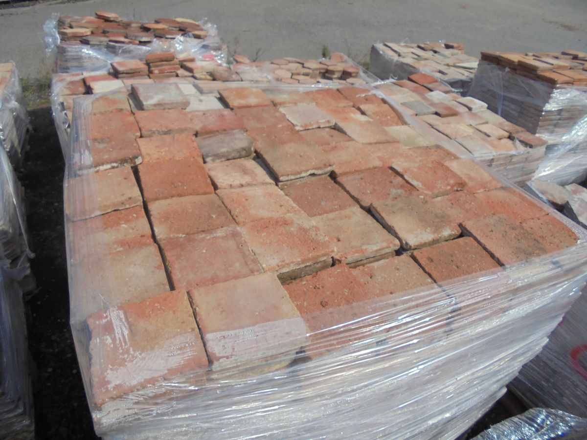 "6"" Orange Square French Tiles"