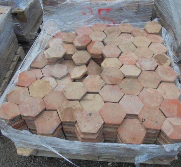 5 1/2 Orange Hexagonal Floor Tiles