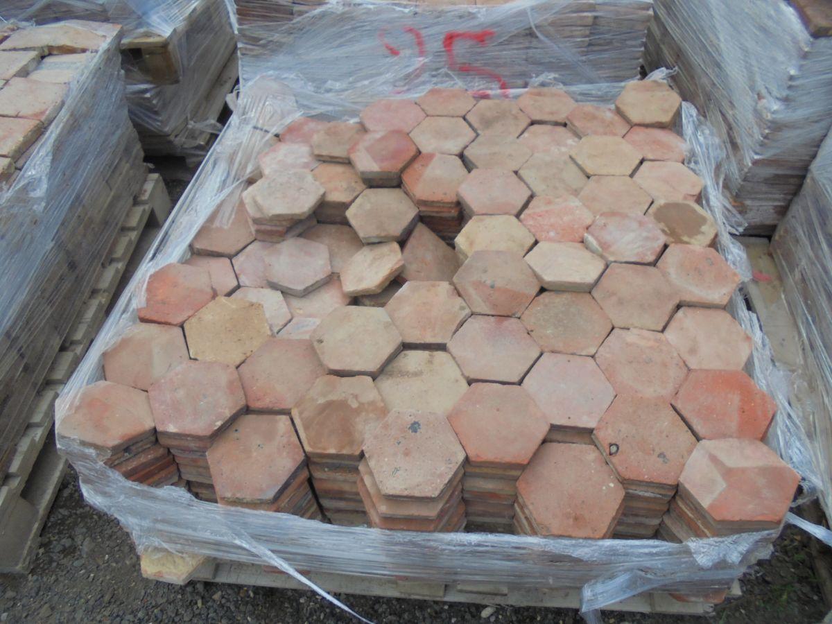 5 1/2 Orange Hexagonal Floor Tiles