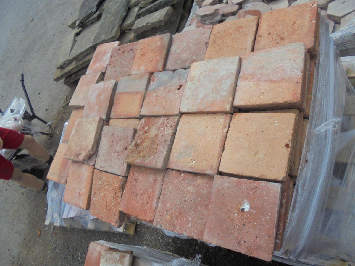 6 3/4 Orange Square Floor Tiles