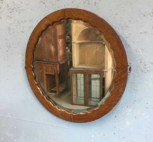 Round Wooden Framed Mirror
