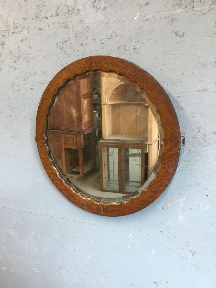 Round Wooden Framed Mirror