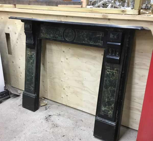 Large Black & Green Fire Surround