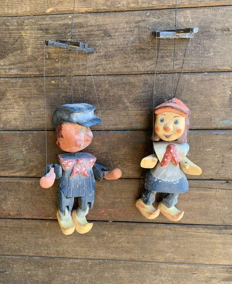 Jack + Jill Wooden Puppets