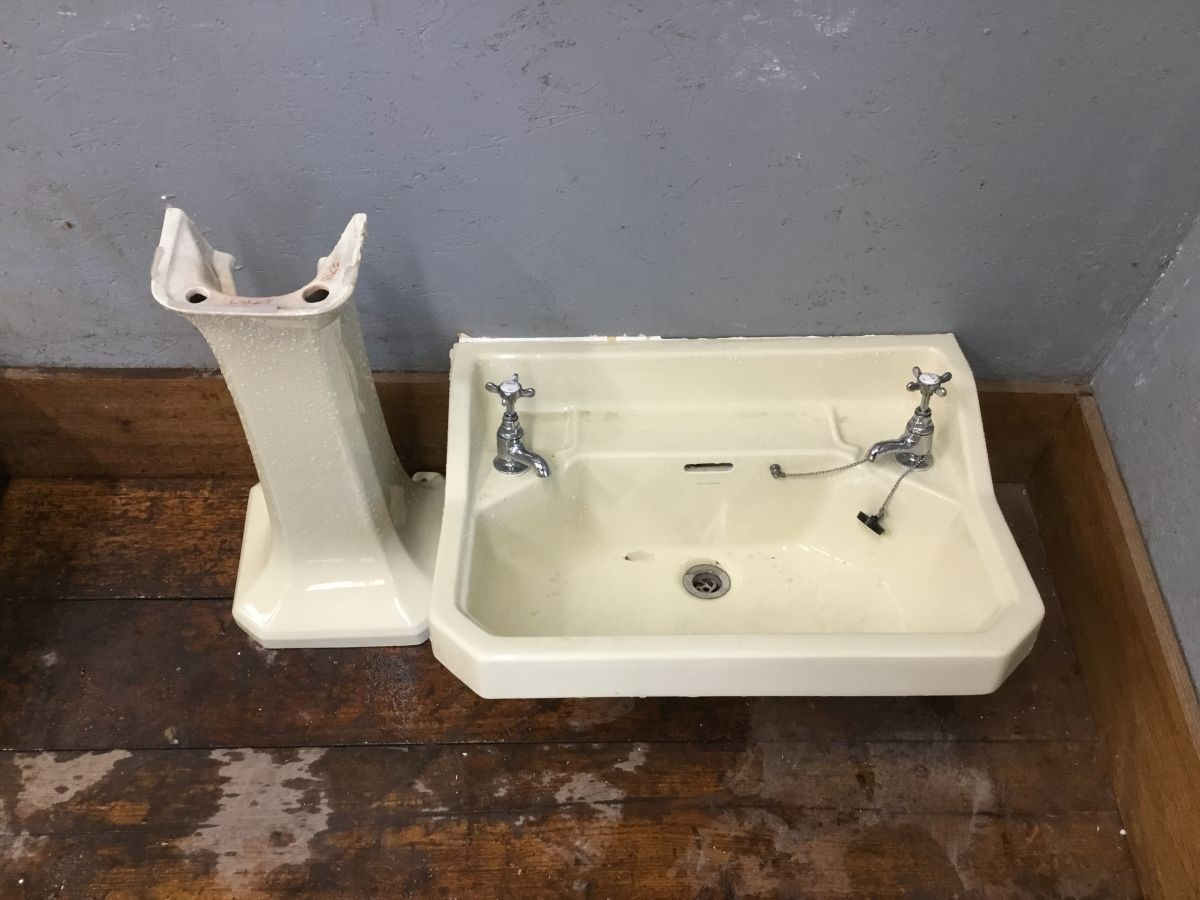 Yellow Sink and Pedestal