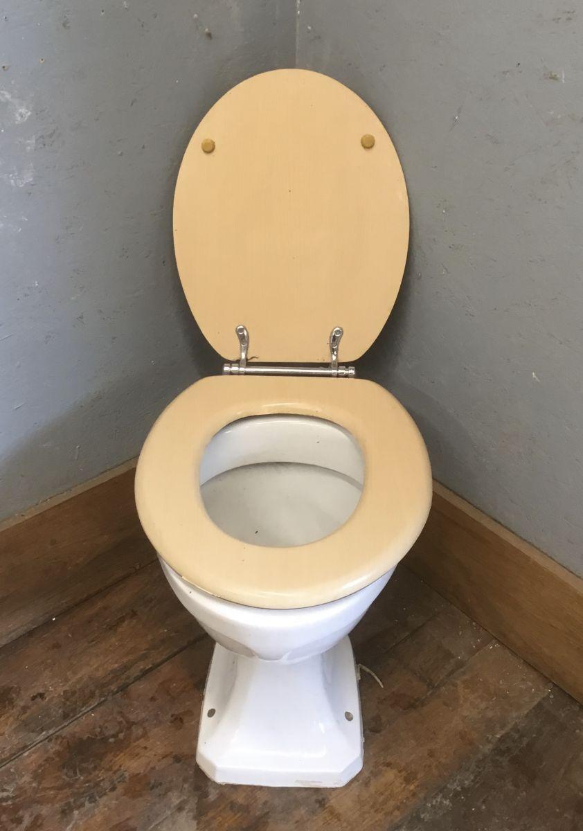 Wood Effect Lid on Toilet