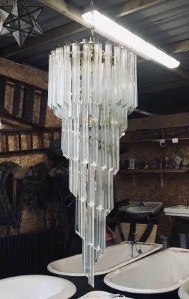Glass Waterfall Effect Chandelier - reclaimed