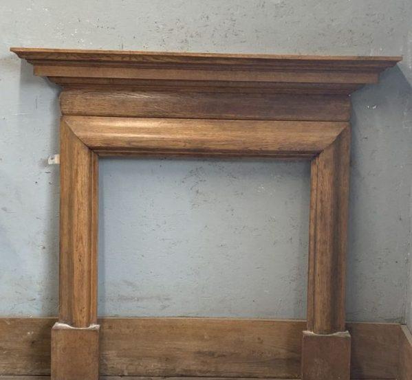 Slim Varnished Pine Fireplace