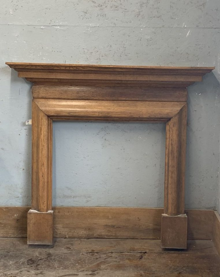 Slim Varnished Pine Fireplace